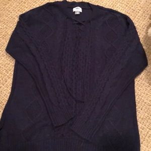 Old navy blue lace up sweater